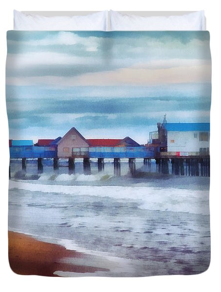 Tide Coming In Orchard Beach Maine Duvet Cover