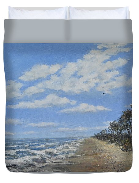 Duvet Cover featuring the painting Tide Line by Kathleen McDermott