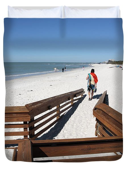 Tide Of Sand Over A Ramp On The Beach In Naples Florida Duvet Cover
