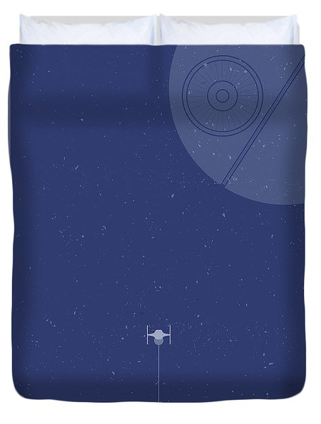 Tie Fighter Defends The Death Star Duvet Cover