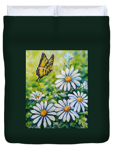 Tiger And Daisies  Duvet Cover