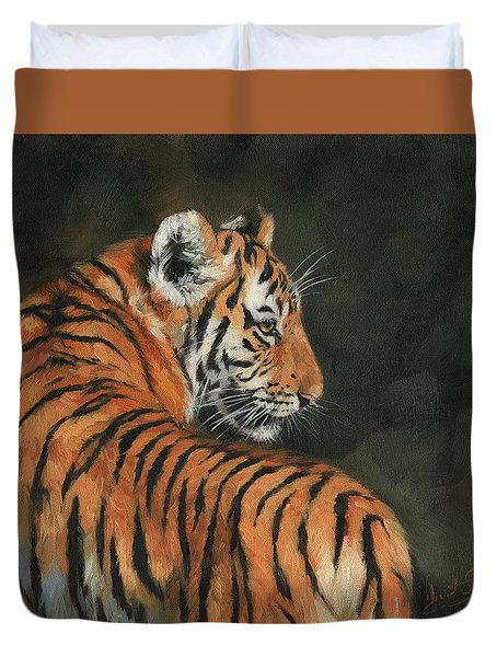 Duvet Cover featuring the painting Tiger At Night by David Stribbling