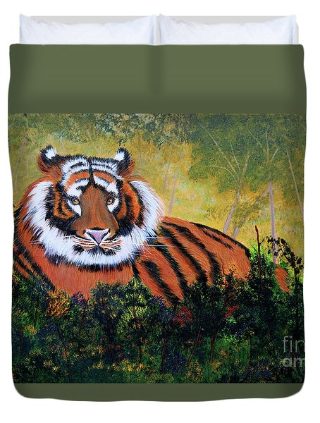 Duvet Cover featuring the painting Tiger At Rest by Myrna Walsh