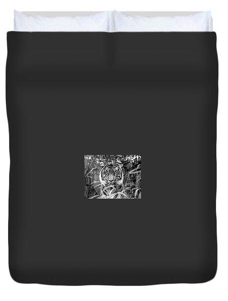 Tiger B/w Duvet Cover