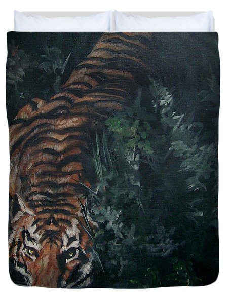 Duvet Cover featuring the painting Tiger by Bryan Bustard