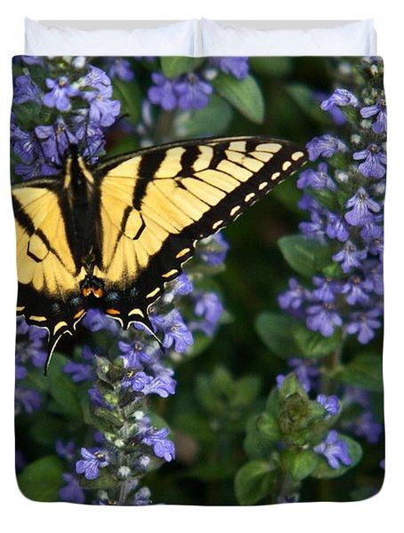 Tiger Butterfly On Ajuga Duvet Cover