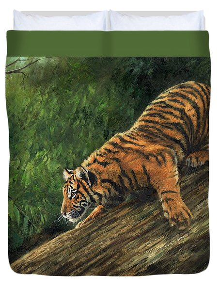 Duvet Cover featuring the painting Tiger Descending Tree by David Stribbling