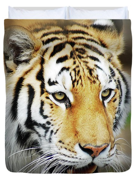 Duvet Cover featuring the photograph Tiger Eyes by Michael Peychich