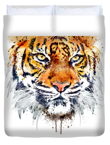 Duvet Cover featuring the mixed media Tiger Face Close-up by Marian Voicu