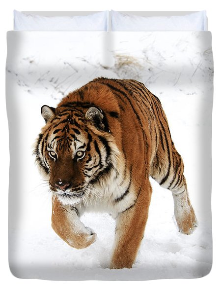 Tiger In Snow Duvet Cover