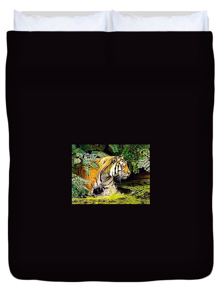 Tiger In The Sunderban Delta Duvet Cover