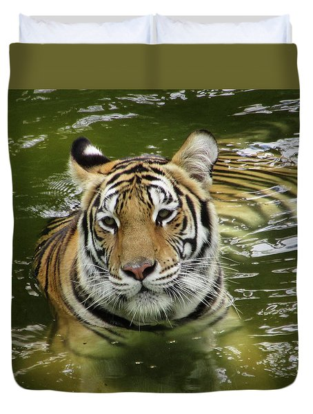 Duvet Cover featuring the photograph Tiger In The Water by Pamela Walton