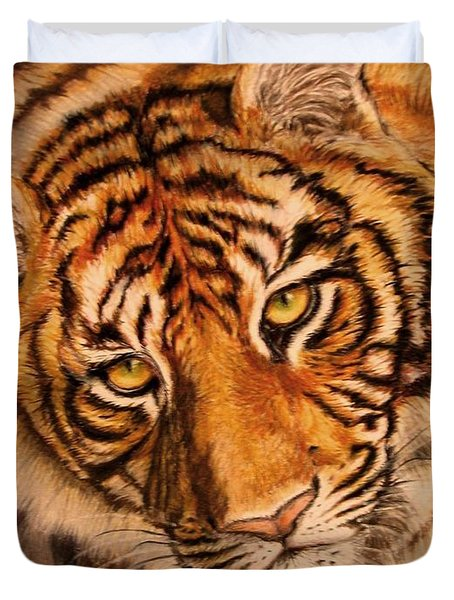 Duvet Cover featuring the drawing Tiger by Karen Ilari
