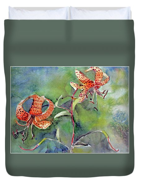 Duvet Cover featuring the painting Tiger Lilies by Mindy Newman