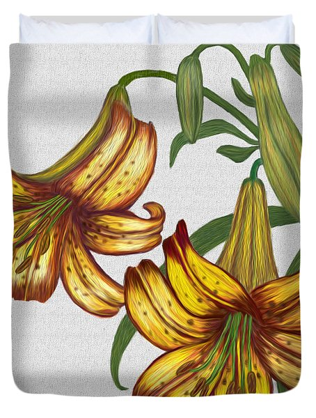 Tiger Lily Blossom  Duvet Cover by Walter Colvin