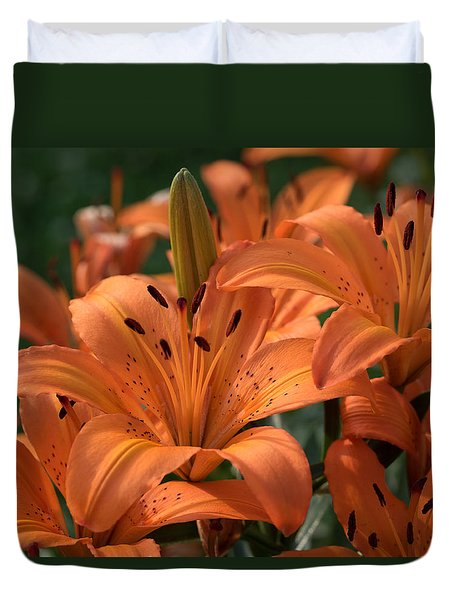 Tiger Lily Blossoms Duvet Cover