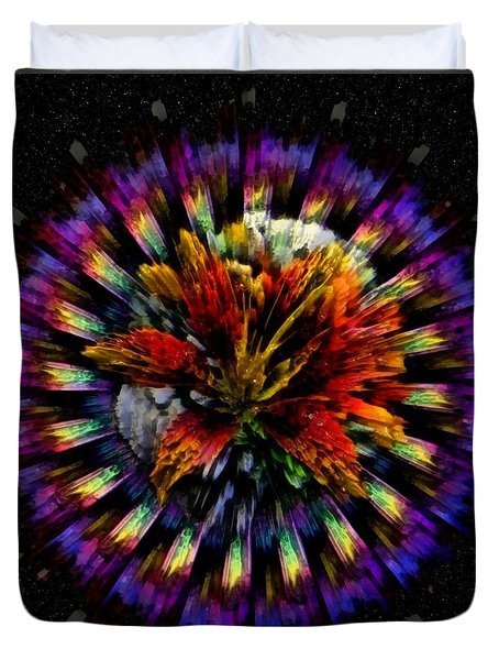 Duvet Cover featuring the digital art Tiger Lily Dimension by Mario Carini