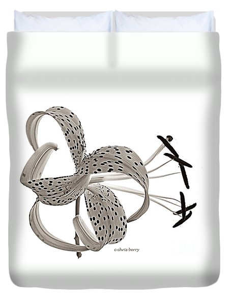 Tiger Lily In Black And White Duvet Cover by Chris Berry