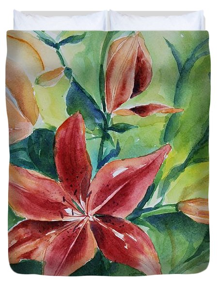 Tiger Lily Still Life In Watercolor Duvet Cover