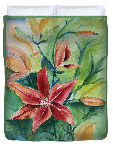 Duvet Cover featuring the painting Tiger Lily Still Life In Watercolor by Geeta Biswas