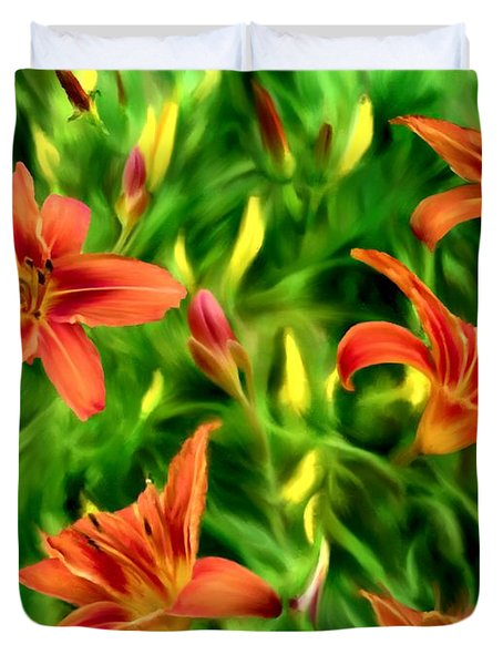 Tiger Lily Tangle Duvet Cover