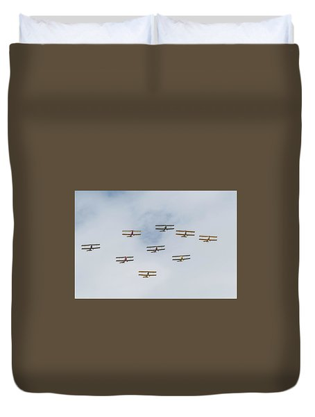 Duvet Cover featuring the photograph Tiger Moth Formation by Gary Eason