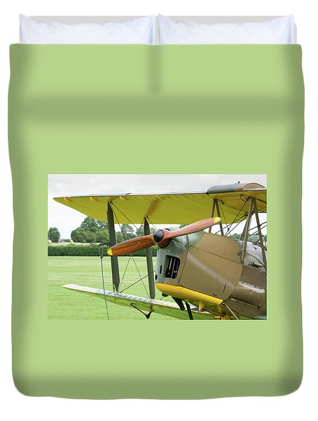 Duvet Cover featuring the photograph Tiger Moth Propeller by Gary Eason