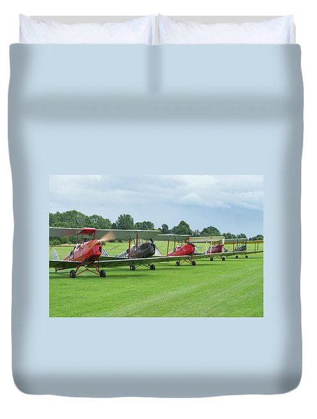 Duvet Cover featuring the photograph Tiger Moths Formation Shutdown by Gary Eason