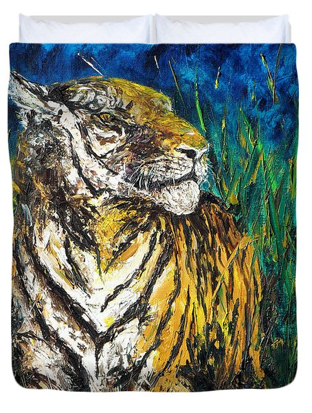 Tiger Night Hunt Duvet Cover by Shirley Heyn