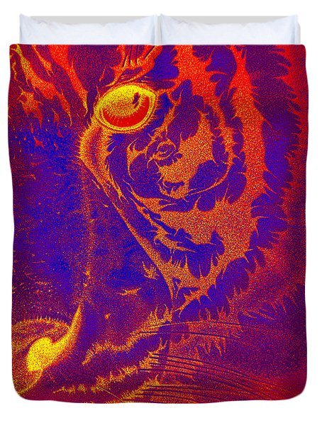 Tiger On Fire Duvet Cover