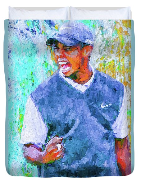 Tiger One Two Three Painting Digital Golfer Duvet Cover by David Haskett