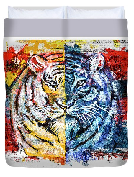 Duvet Cover featuring the painting Tiger, Original Acrylic Painting by Ariadna De Raadt