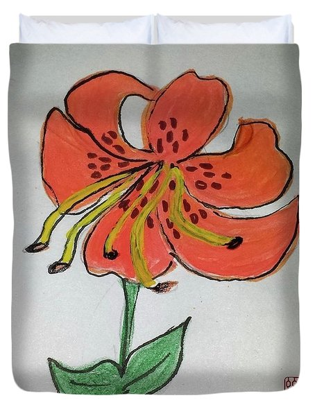 Duvet Cover featuring the painting Tiger Power by Margaret Welsh Willowsilk