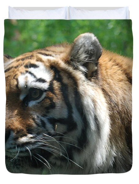 Duvet Cover featuring the photograph Tiger Profile by Richard Bryce and Family