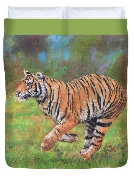 Duvet Cover featuring the painting Tiger Running by David Stribbling