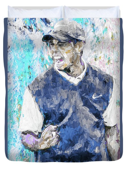 Tiger Says 2 Painting Digital Golf Duvet Cover by David Haskett