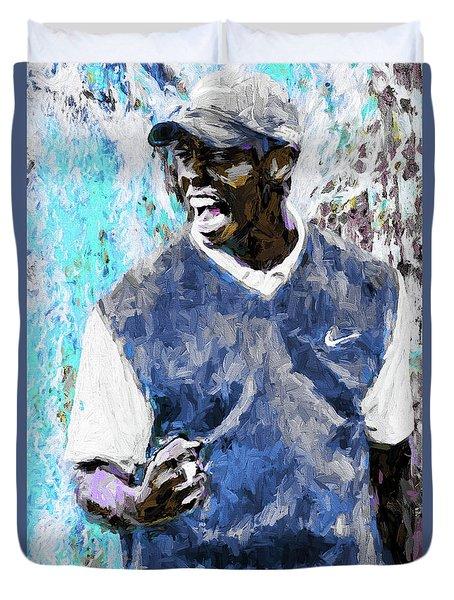 Tiger Says Digital Painting Golf Duvet Cover by David Haskett