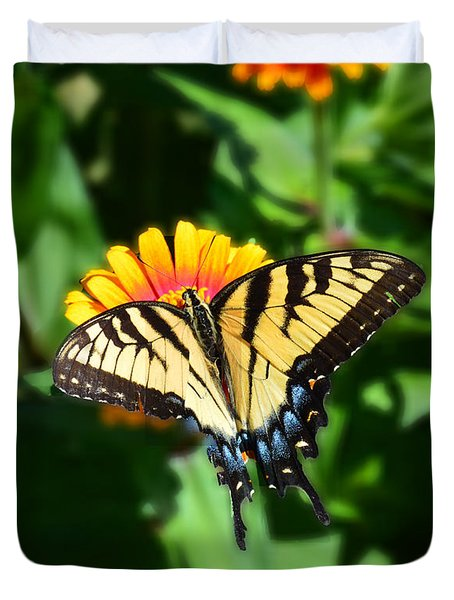 Duvet Cover featuring the photograph Tiger Swallowtail Butterfly by Kathy Kelly