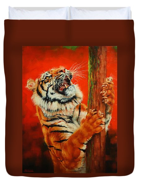 Duvet Cover featuring the painting Tiger Tiger Burning Bright by Margaret Stockdale