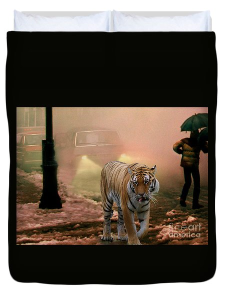 Tiger Walking Down A Snow Slushy Street Duvet Cover