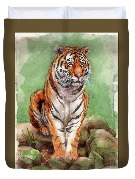 Duvet Cover featuring the painting Tiger Watercolor Sketch by Margaret Stockdale