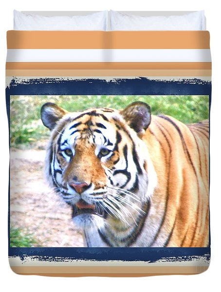 Tiger With Border Duvet Cover