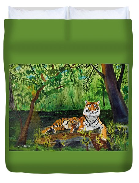 Tiger With Cub Duvet Cover