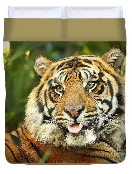 Duvet Cover featuring the photograph Tiger With Playful Expression by Max Allen
