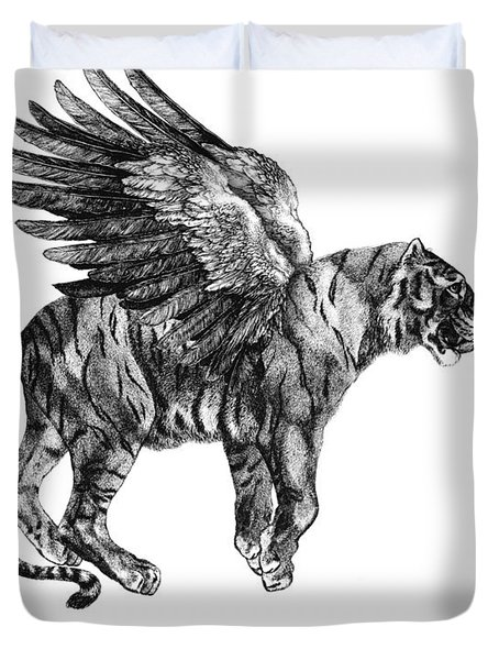Tiger With Wings, Black And White Illustration Duvet Cover