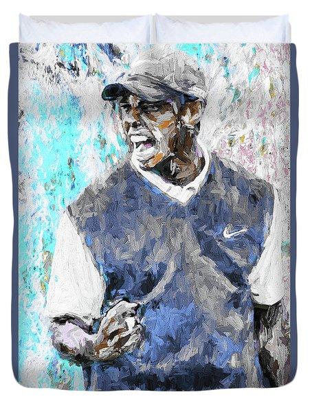 Tiger Woods One Blue Golfer Digital Art Duvet Cover by David Haskett