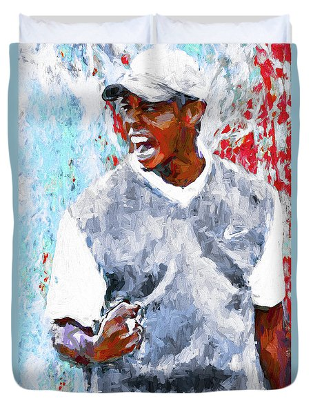 Tiger Woods One Two Red Painting Digital Duvet Cover by David Haskett