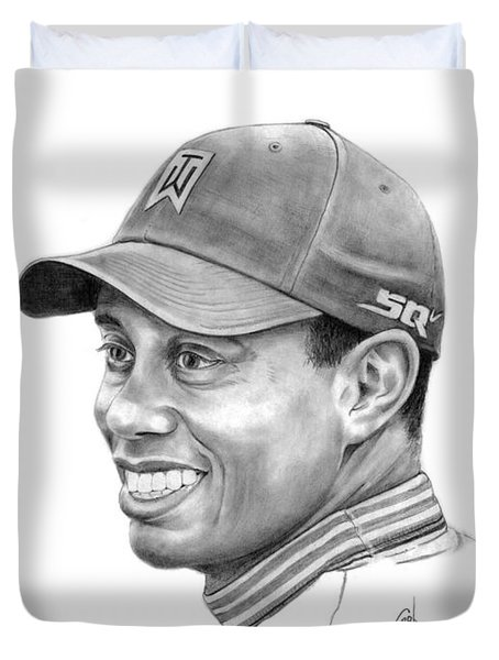 Tiger Woods Smile Duvet Cover by Murphy Elliott
