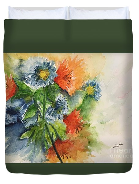 Duvet Cover featuring the painting Tigerlilies And Cornflowers by Lucia Grilletto