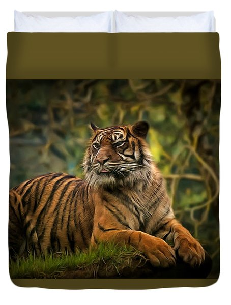 Duvet Cover featuring the photograph Tigers Beauty by Scott Carruthers